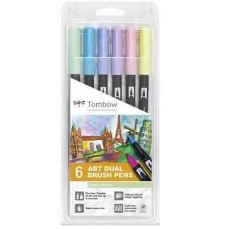 Tombow ABT Dual Brush Pen kétvégű filctoll 6 db-os, pasztell színek