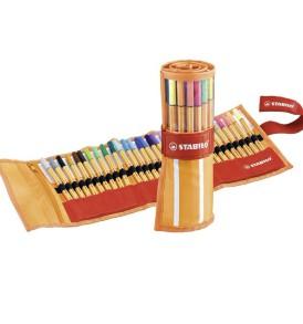 Stabilo tűfilc feltekerhető tolltartóval 30 db