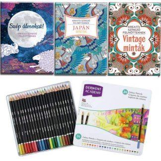 Claire Cater felnőtt színező könyvek + Derwent Academy színes ceruza készlet