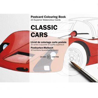 Klasszikus autók felnőtt színező képeslapkönyv
