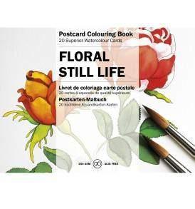 Virágos csendéletek felnőtt színező képeslapkönyv