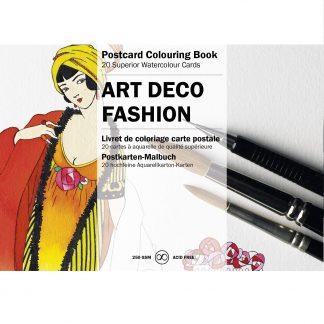 Art Deco divatképek felnőtt színező képeslapkönyv