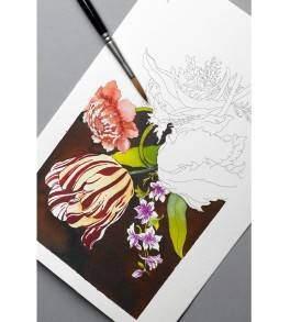 Virágos csendélet felnőtt színezőVirágos csendélet felnőtt színező