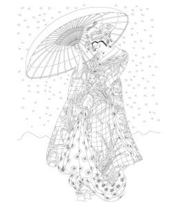 Kimonók felnőtt színező