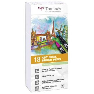 Tombow Dual Brush Pen 18 db-os ecsetfilc-készlet - pasztell színek