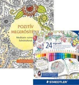Pozitív megerősitések színező könyv Staedtler Ergosoft ceruzakészlettel
