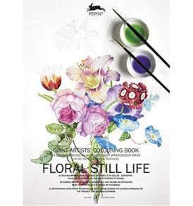 Virágos csendéletek A3-as művész felnőtt színező könyv