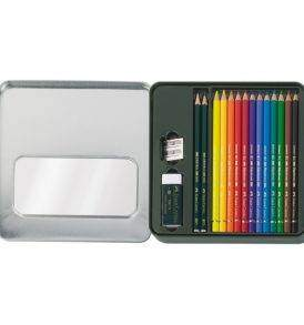 Faber-Castell Mixed media készlet: Polychromos & Castell 9000 nyitott