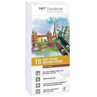 Tombow Dual Brush Pen 18 db-os ecsetfilc-készlet - földszínek