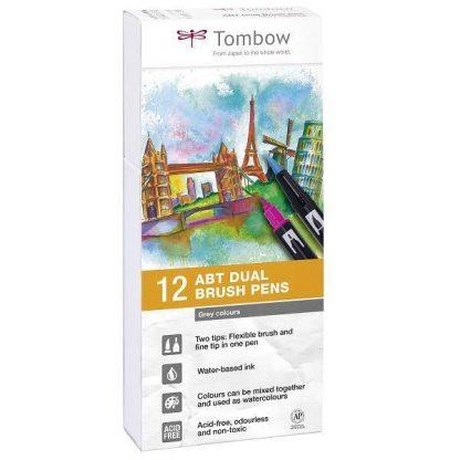 Tombow ABT kéthegyű filctoll szürke árnyalatok