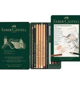 Faber-Castell Pitt Monochrome készlet 12 db-os, nyitott