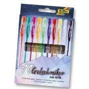 Folia zselés toll készlet, 10 db-os, csillámos