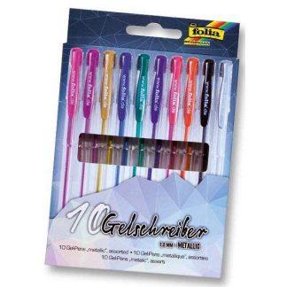 Folia zselés toll készlet, 10 db-os, metál színek