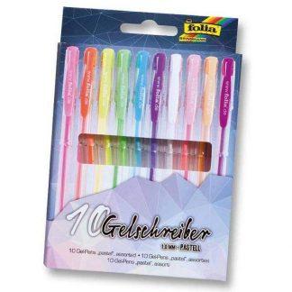 Folia zselés toll készlet, 10 db-os, pasztell színek