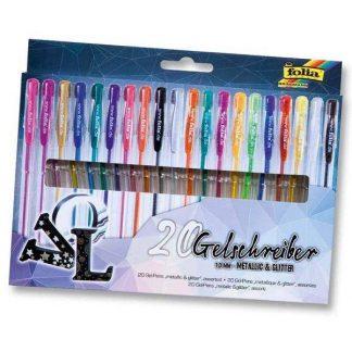 Folia zselés toll készlet, 20 db-os, metál és csillámos