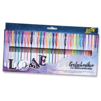 Folia zselés toll készlet, 20 db-os, metál, pasztell és csillámos