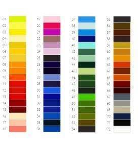 Derwent Procolour 72 db-os készlet színei