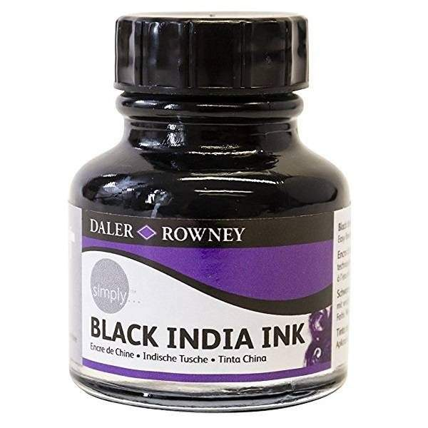 Daler-Rowney Simply BlackIndia Ink fekete tustinta