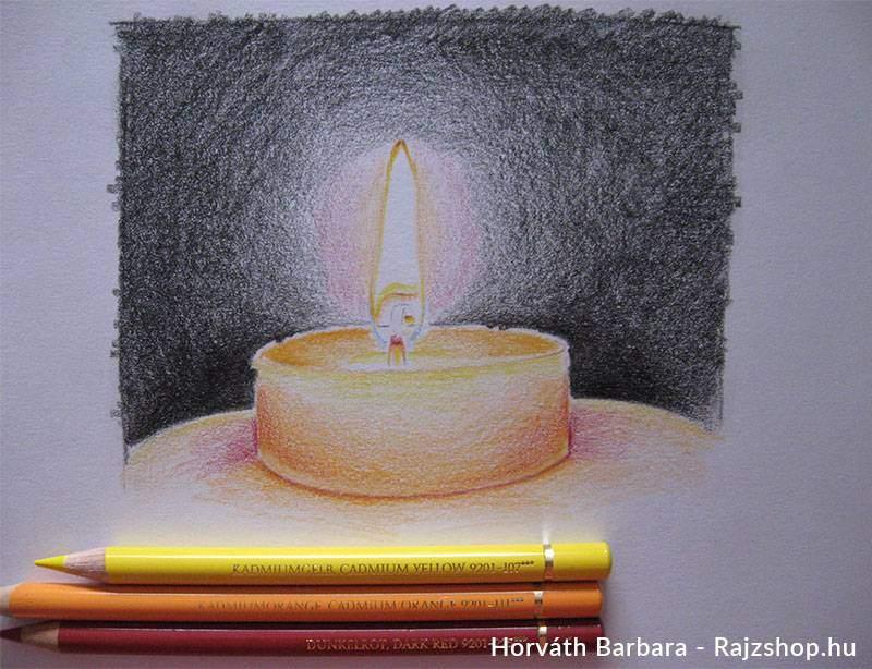 Gyertya rajzolása színesceruzával