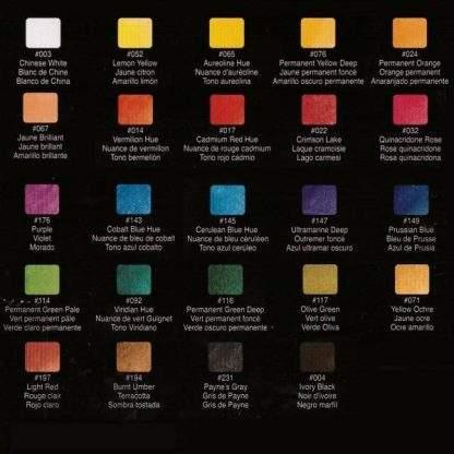 Sakura Koi akvarell festék 24 db-os készlet színskála