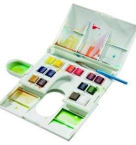 Winsor & Newton Cotman 14 db akvarellfesték, nyitott doboz