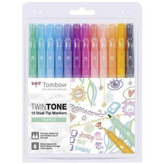 Tombow TwinTone kéthegyű marker - pasztell színek