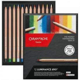 Caran d'Ache Luminance 12 db-os színesceruza készlet, nyitott doboz