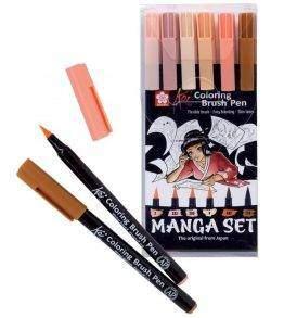 Sakura Koi ecsetfilc 6 db-os készlet, manga színek