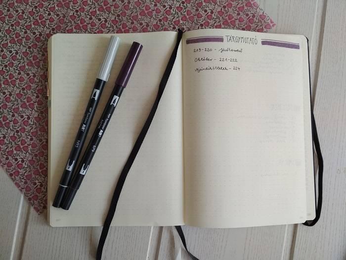 Bullet Journal tárgymutató minta