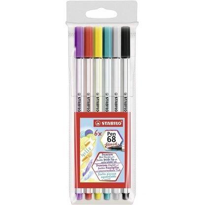 Stabilo Pen 68 Brush ecsetfilc, 6 db-os készlet