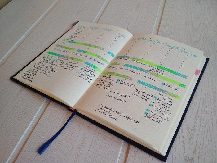 Bullet Journal füzet minta