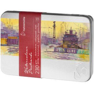 Hahnemühle akvarell képeslapok, fémdobozban