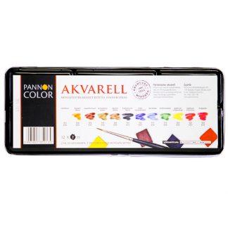 Pannoncolor akvarellfesték, 12 db-os készlet, fémdobozos