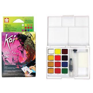 Sakura Koi akvarellfesték, 12 db-os készlet, flou-és metál színek