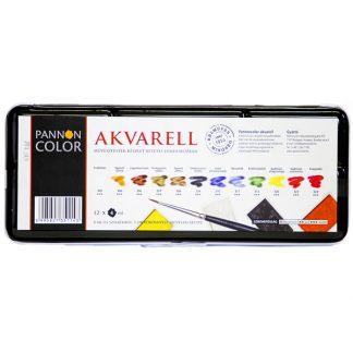 Pannoncolor akvarellfesték készlet, 12 db-os, egész szilkés