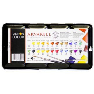 Pannoncolor akvarellfesték készlet, 24 db-os, egész szilkés