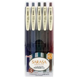 Zebra Sarasa Vintage színes zselés tollak, készlet
