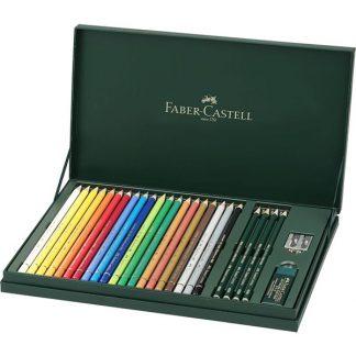 Faber-Castell Polychromos művész színes ceruza, 20 db-os készlet, kiegészítőkkel