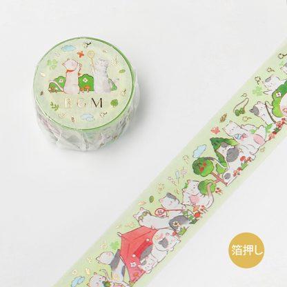 BGM washi tape 20mm x 5m - Green Cat