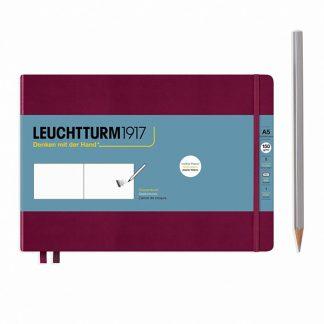 Leuchtturm Medium Sketchbook, A5, fekvő - Port Red