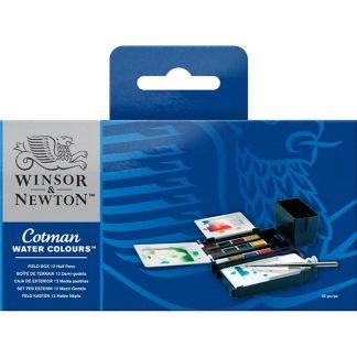 Winsor and Nowton Cotman akvarellfesték, 12 db, field box