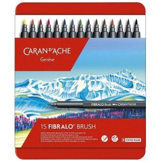 Caran d'Ache Fibralo ecsetfilc, 15 darabos - fém dobozban