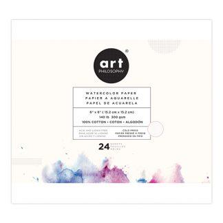 Art Philosophy akvarellpapír, 100% pamut - 15 x 15 cm